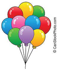 1, globos, grupo, caricatura