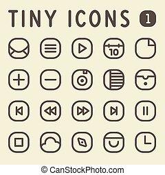 1, línea, conjunto, diminuto, iconos