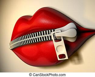 1, labios, mudo