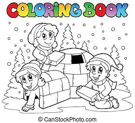 1, libro, colorido, escena, invierno