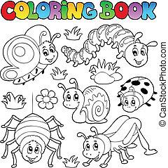 1, lindo, libro colorear, bichos