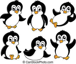 1, lindo, pingüinos, colección