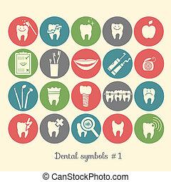 1, símbolos, parte, conjunto, odontología