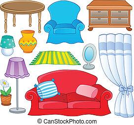 1, tema, colección, muebles