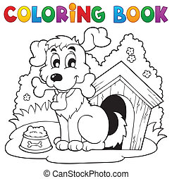 1, tema, libro colorear, perro