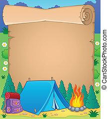 1, tema, pergamino, campamento