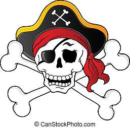 1, tema, pirata, cráneo