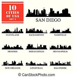 10 ciudades de los Estados Unidos de América #3, siluetas aisladas detalladas.