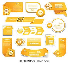 10, conjunto, eps, icons., naranja, paso, vector, progreso, versión