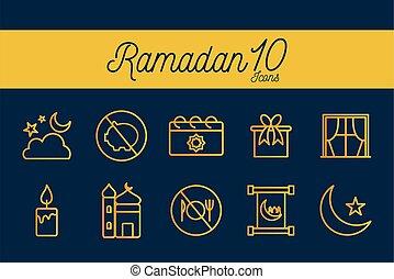 10, conjunto, vector, icono, ramadan, gradiente, diseño, estilo