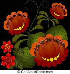 10, flor, petrikov, ucranio, nacional, pattern., eps, tradicional, painting.