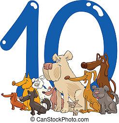 10, número, diez, perros