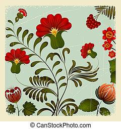10, petrikov, ucranio, vendimia, nacional, ornamento, eps, fondo., floral, painting.