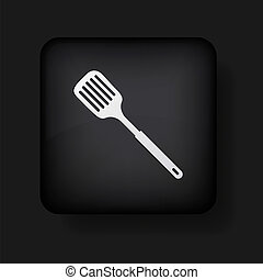 10, slotted, icono, eps, cuchara, vector, black., cocina