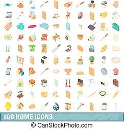 100 íconos caseros, estilo de dibujos animados