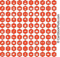100 íconos de caballería naranja hexágono