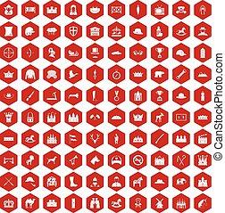 100 íconos de caballería rojo hexágono