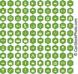 100 íconos de caballería verde hexágono