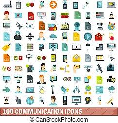 100 íconos de comunicación establecidos, estilo plano