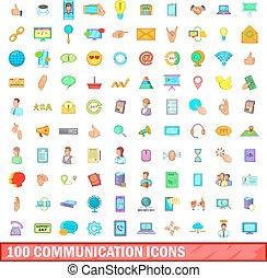 100 íconos de comunicación, estilo de dibujos animados