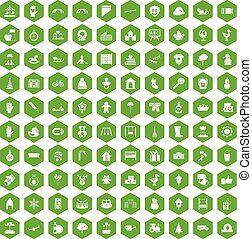 100 íconos de jardín de infantes de hexágono verde
