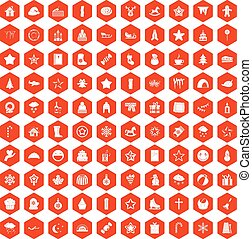 100 íconos de Navidad Hexagon naranja