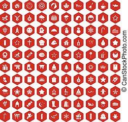 100 íconos de Navidad rojo hexágono