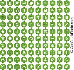 100 íconos de Navidad verde hexágono