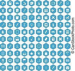 100 íconos de papel azul