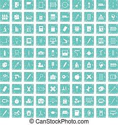 100 íconos de papel ponen azul grunge