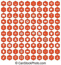 100 íconos deportivos Hexagon naranja