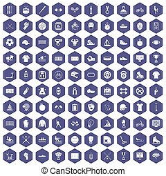 100 íconos deportivos Hexagon púrpura