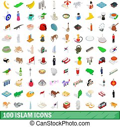 100 íconos islámicos establecidos, estilo isométrico 3D