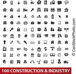 100 arquitecturas, iconos de construcción e industria establecidas, vector