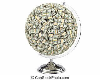 100 dólares en globo blanco aislado