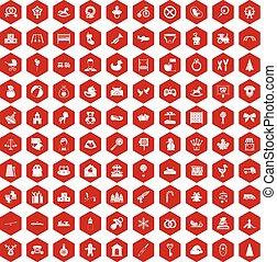 100 iconos bebés rojo hexágono
