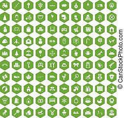 100 iconos de bebé verde hexágono