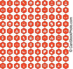 100 iconos de jardín de infantes Hexagon naranja