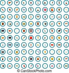 100 muebles de iconos, estilo de dibujos animados