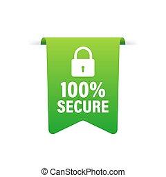 100, o, grunge, vector, comercio, botón, seguro, illustration., icon., insignia, acción, website.