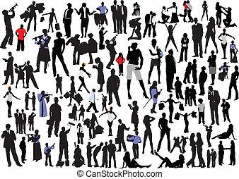 100 personas siluetas. Vector Col