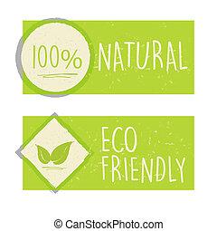 100 por ciento natural y ecológico amistoso con el letrero de hojas en pancartas verdes