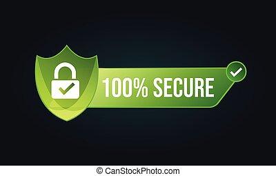 '100%, vector, icono, ', seguro