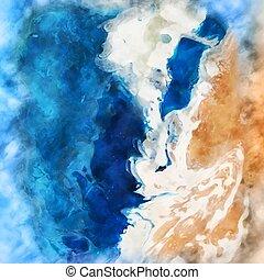 1205, pintado, escena, acuarela, mano, playa, plano de fondo