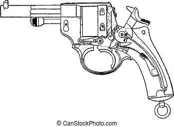 1873, modelo, vista, engraving., vendimia, gun-revolver, cubierta