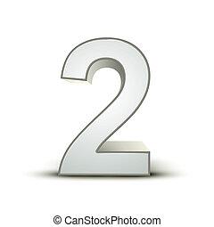 2, brillante, plata, número