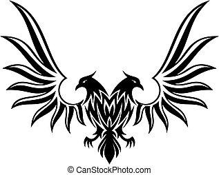 2, doble, vector, repolludo, águila