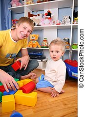 2, playroom, padre, niño