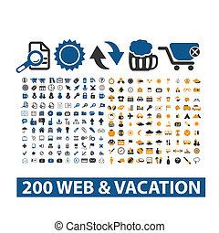 20 iconos de vacaciones y telarañas, vector