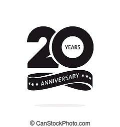 20, símbolo, año, cumpleaños, 20, plantilla, logotipo, cinta, estampilla, sello, negro, blanco, veinte, aniversario, aislado, icono, etiqueta, años